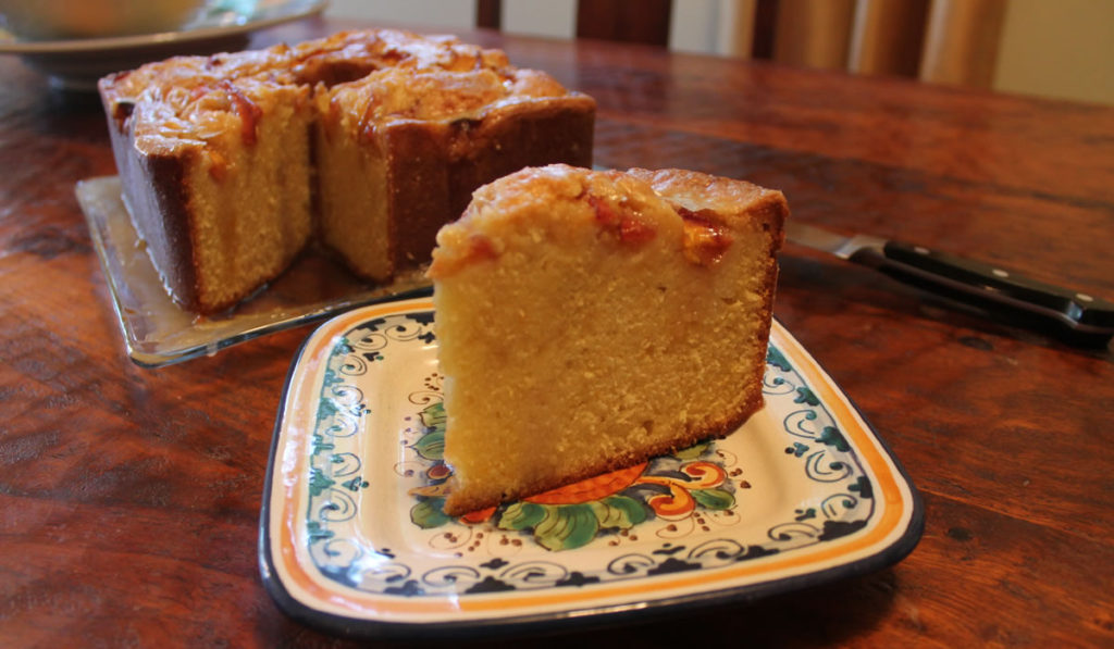 Bourbon Glazed Pound Cake with Peaches