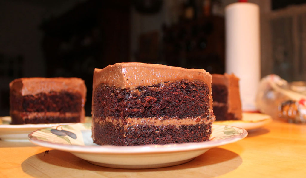 Chocolate Sour Cream Cake for Two