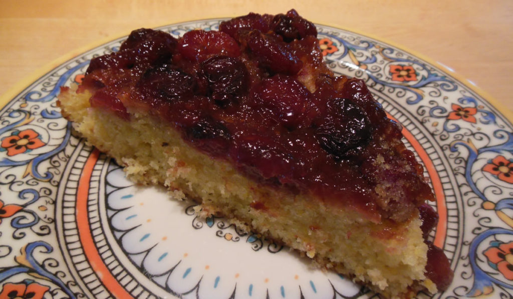 Cherry Upside-Down Polenta Cake