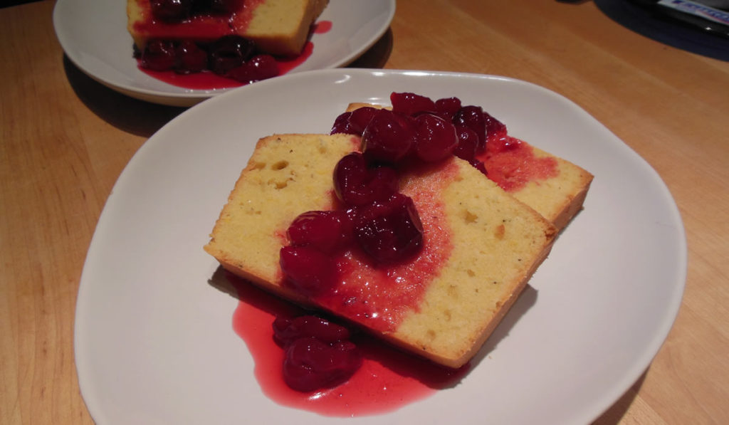Polenta Pound Cake with Cherries