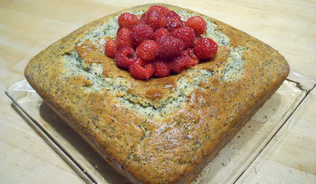 Poppy Seed Cake With Lemon Glaze and Raspberries