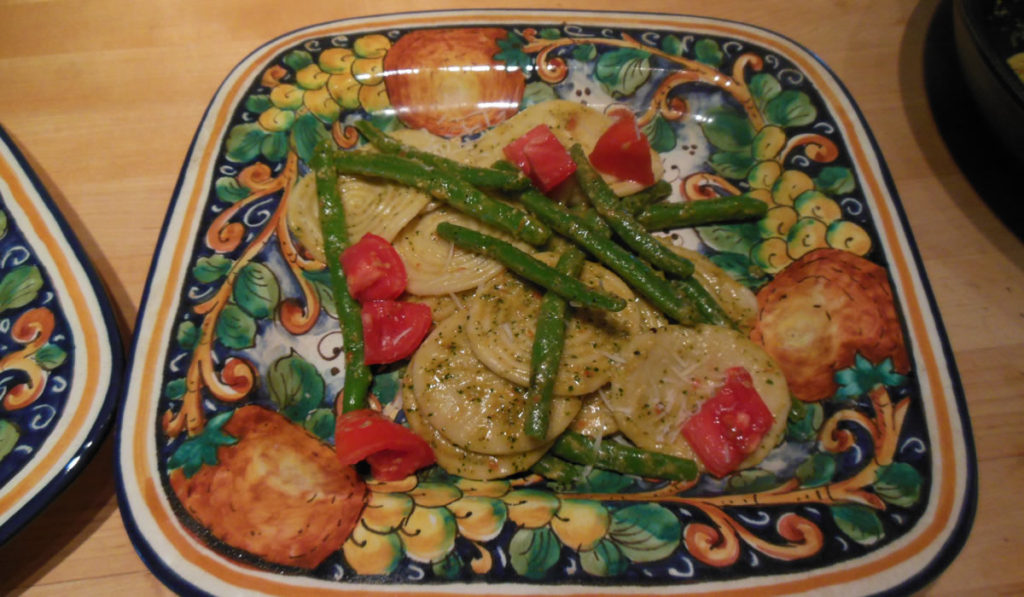 Corzetti with Pesto and Green Beans